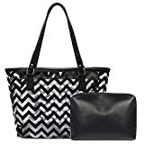 Clear Tote Bags with Full Chevron Prints PVC Shoulder Handbag with Interior Pocket (Black)