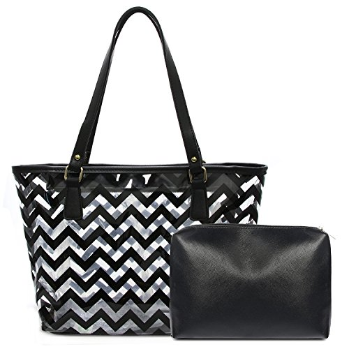 (Clear Tote Bags with Full Chevron Prints PVC Shoulder Handbag with Interior Pocket (Black))