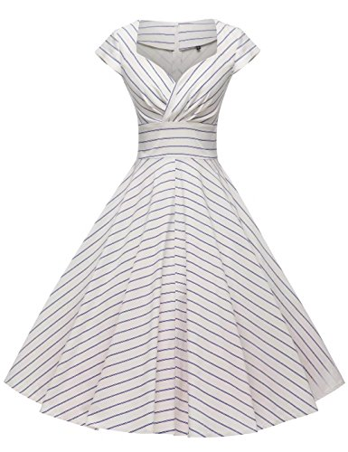 Vertical Lines - GownTown Womens Dresses Party Dresses 1950s Vintage Dresses Swing Stretchy Dresses,Vertical Striped,XX-Large