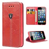 Flip Case iPhone 5 Leather Case iPhone 5s Wallet Case iPhone SE Kickstand iPhone SE Cover Protection Leather Slim Magnetic Flip Folio Case Cover - Red