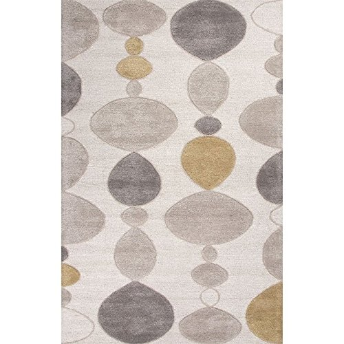 - Jaipur Rugs Blue 5' x 8' Hand Tufted Wool Rug in Ivory and Gray