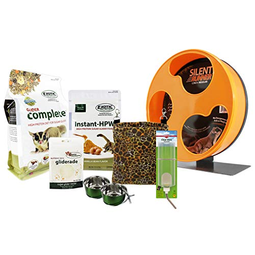Exotic Nutrition Starter Package for Sugar Gliders - Includes Exercise Wheel, Food Assortment, Water Bottle, Food Dishes & Nest Pouch