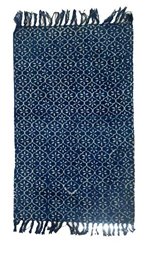 iinfinize - Gorgeous Hand Block Print 100% Cotton Kilim Beautiful Floral Print Rag Rug Indian Large Carpet 2 x 3 Ft Fringes Lace Indoor Outdoor Dhurrie Floor Runner Area Rug (IIN-CRU-76) (Dhurrie Cotton Area Rugs)