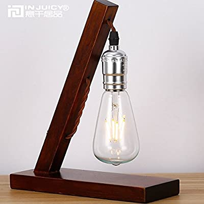 Injuicy Lighting Edison Vintage Industrial Table Light E27 Wood Led Desk Lamp American Countryside Cafe Bar Loft Bedroom Bedside Living Room Lighting Decor