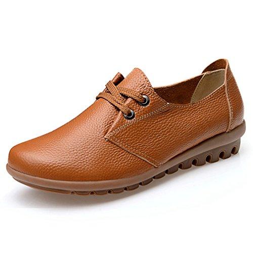 Hoxekle Womens Bowknot Ronde Orteils / Perforé / Style Britannique / Plate-forme Chaussures Oxford / Vintage Chaussures Oxford Marron
