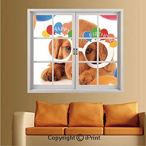 RWNFA Removable and Stick Wallpaper,Home Decor,Wallpaper/Removable Modern Decorating Wall Art,W36 xL48,Puppy Dog Golden with Glasses Balloons Present Party Theme -