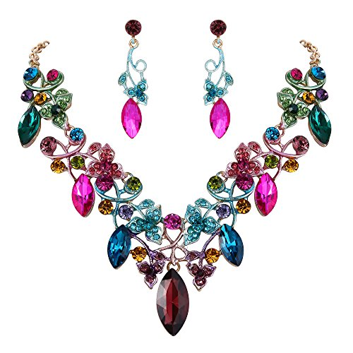 (BriLove Costume Fashion Necklace Earrings Jewelry Set for Women Crystal Floral Vine Leaf Statement Necklace Dangle Earrings Set Colorful Multicolor Gold-Toned)