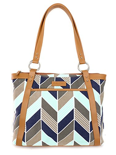 Kailo Chic Casual Laptop Tote Bags (Navy and Mint ()