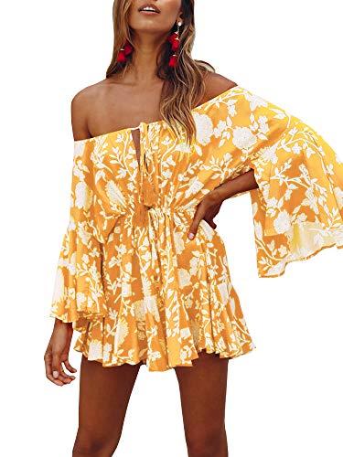 Bigyonger Womens Summer Cute Floral Off Shoulder Dress Bell Sleeve Strapless Sundress Yellow