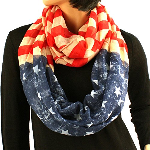 Original-Patriotic-American-USA-Flag-Loop-Circle-Chain-Infinity-Scarf-Chain