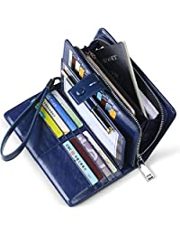 Huztencor Women's Big Fat RFID Blocking Real Leather Wallet Clutch Organizer Checkbook Holder