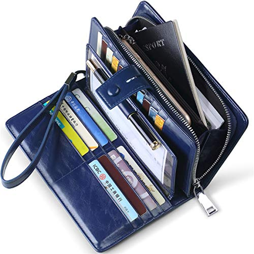 Huztencor Wallets for Women RFID Blocking Women's Big Fat RFID Leather Wallet Clutch Organizer Passport Checkbook Holder Wrist Strap Wristlet Oil Wax Leather Blue