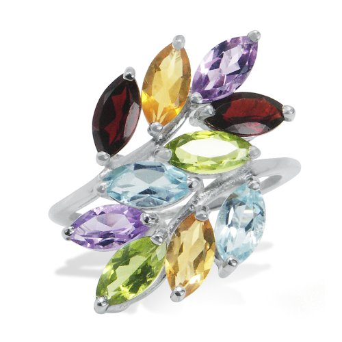 Garnet, Peridot, Citrine, Amethyst&Blue Topaz 925 Silver Leaf Ring Size 8