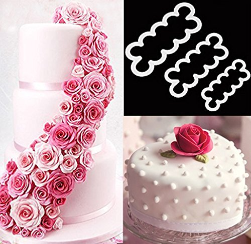 3pcs Cake Decoration Mold, DIY One-Piece Molded Fondant Roses Printing Mould Tool Set , Food Grade Cutter Modeling Tools for Christmas Party Wedding Cake in Mould Dessert Decorators Sugarcraft Sugar