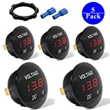 5-PACK DC 12V-25V LED Panel Digital Voltage Meter Display Voltmeter For Automotive Car Motorbike Boat ATV UTV Camper Caravans Travel Trailer RED