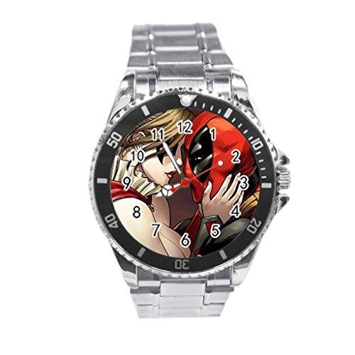 Deadpool and Harley Quinn vs Batman Custom genuine leather strap stainless steel back wrist watches ()