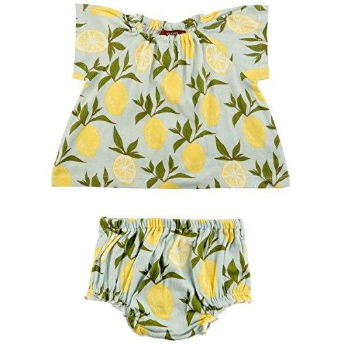 (MilkBarn Organic Cotton Short Sleeve Peasant Dress with Bloomer Lemon (6-12 Months))