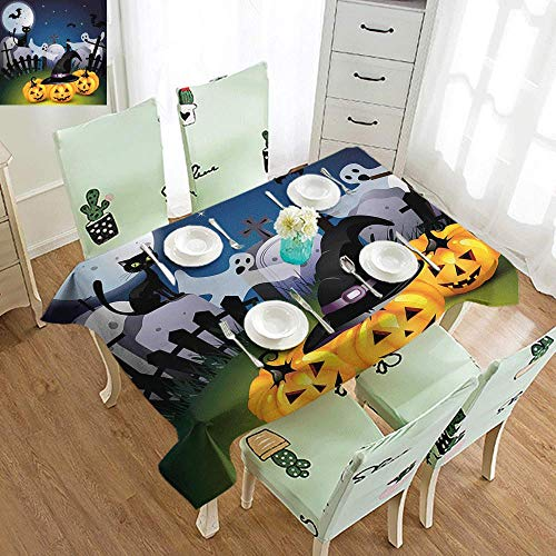 DILITECK Waterproof Tablecloth Halloween Funny Cartoon Design with Pumpkins Witches Hat Ghosts Graveyard Full Moon Cat Table Decoration W54 xL84 Multicolor ()