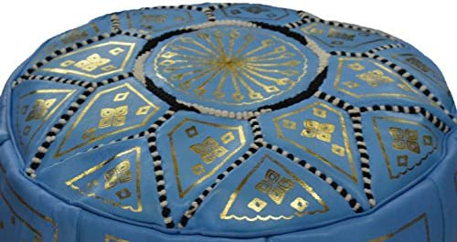 Moroccan Pouf Ottoman Footrest Hassock Handmade Leather Comfortable Unstuffed