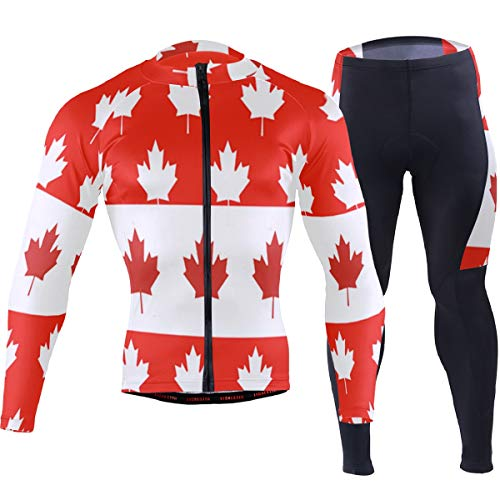 Canadian Flag Maple Leaf Men's Cycling Jersey Set Breathable Quick-Dry MTB Road Bike Luxury -