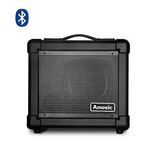 10w Acoustic Guitar Amplifier (Amosic Mini Guitar Amplifier for Electric / Acoustic / Bass Guitar, Sturdy Corner Cover Design for Anti - Collision, Household Bluetooth Amp by Batteries or Adapter Power (10W))