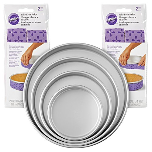 Wilton Bake-Even Strips and Round Cake Pan Set, 8-Piece - 6, 8, 10, and 12 x 2-Inch Aluminum Cake Pans -