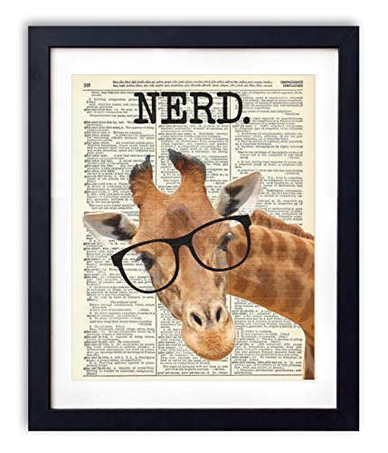 Nerd Giraffe Upcycled Vintage Dictionary Art Print 8x10