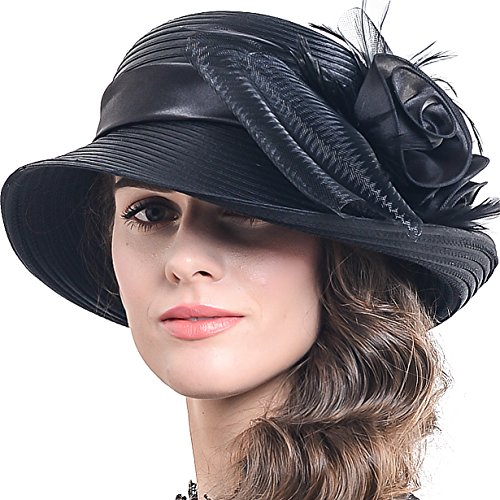 FORBUSITE Church Hats for Women Tea Party Dress Hat for Ladies Black]()