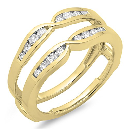 Ring Anniversary Guard - Dazzlingrock Collection 0.45 Carat (ctw) 14K Round Diamond Ladies Anniversary Guard Double Ring 1/2 CT, Yellow Gold, Size 8.5