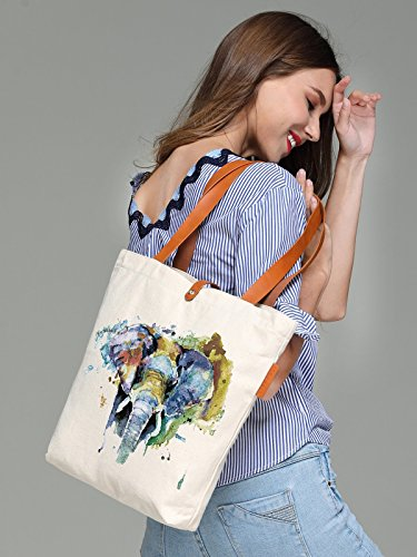 So'each Women's Elephant Art Painting Graphic Top Handle Canvas Tote Shoulder Bag