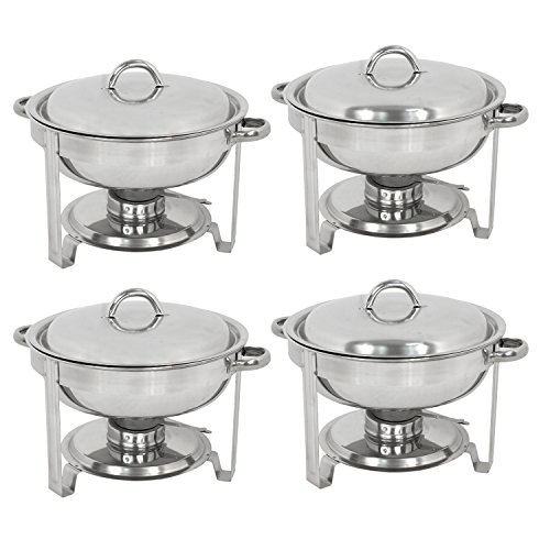 Super Deal Pack of 4 Full Size Round Chafing Dish 5 Quart Stainless Steel Tray Buffet Catering, Dinner Serving Buffer Warmer Set, Pack of 4(4)