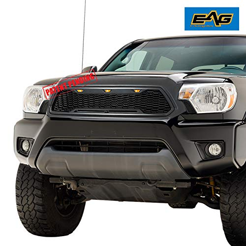 EAG Replacement Upper ABS Grille Front Grill with Amber LED Lights - Charcoal Gray Fit for 12-15 Toyota Tacoma ()