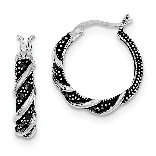 ICE CARATS 925 Sterling Silver Swirl Hoop Marcasite Earrings Ear Hoops Set Fine Jewelry Ideal Mothers Day Gifts For Mom Women Gift Set From (Small Swirl Earrings)