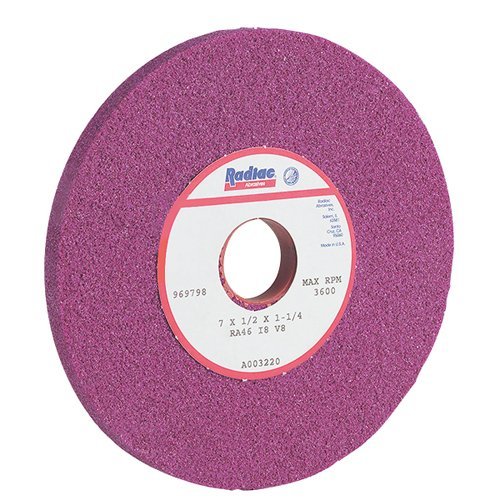 RADIAC Ruby Surface Grinding Wheel - Size: 7'' x 3/4'' x 1-1/4'' STYLE: Straight - Type 01 - No Recess Specification: RA46-J8-V8