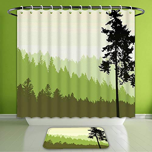 - Waterproof Shower Curtain and Bath Rug Set Apartment Decor Nature Theme Pine Tree Silhouette On an Abstract Background LIM Bath Curtain and Doormat Suit for Bathroom Extra Wide Size 78