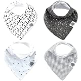 Parker Baby Bandana Drool Bibs - 4 Pack Gray Baby Bibs for Boys, Girls, Unisex -Shadow Set