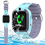 Kids Smart Watch Phone Girls Boys with GPS Tracker IP67 Waterproof HD Touch Screen SOS 2 Way Call Camera Alarm Clock Math Game Gizmo Wrist Watch iOS Android Electronic Learning Toys (Blue)