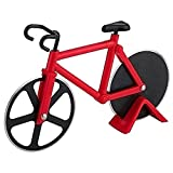 Cool Kitchen Gadgets Bicycle Pizza Cutter Wheel Non-Stick Cutting Wheel Dual Stainless Steel best for Holiday Vacation Housewarming Cool Kitchen Gadget Gift with Stand (Red))
