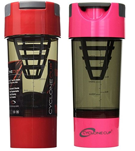 Cyclone Cup Shaker Bottle 20oz - Set of 2 - Red and Pink