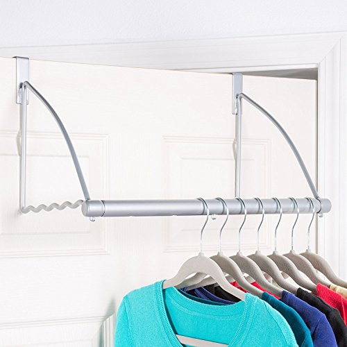 Richards Homewares Silver Epoxy Over the Door Close Valet with Hanging Bar