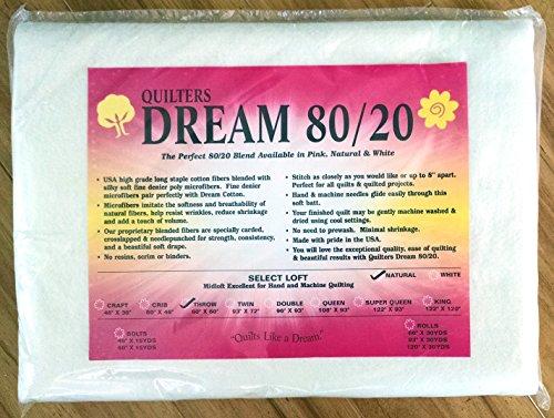 Quilter's Dream 80/20, Natural, Select Loft Batting - Throw Size 60''X60'' by Quilters Dream 80/20 Natural Throw Size