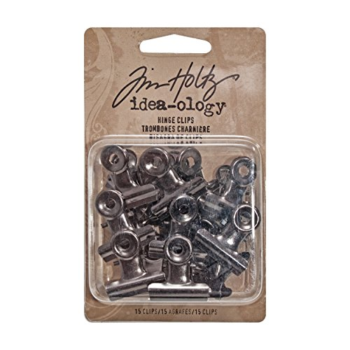 (Tim Holtz Idea-ology Hinge Clips, Antique Satin Nickel Finish, Pack of 15 Miniature Metal Bulldog Clips, 7/8 x 7/8 Inch, TH92692)