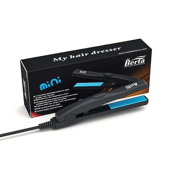 Professional Travel Size 0.5 inch Mini Flat Iron Tourmaline Ceramic Hair Straightener Black