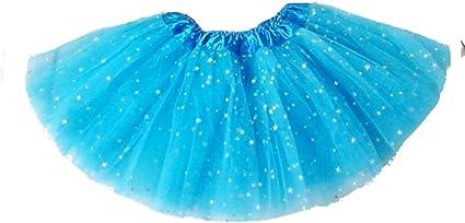 Falda - tul - niña - azul claro - falda - brillo - 2 capas - danza ...