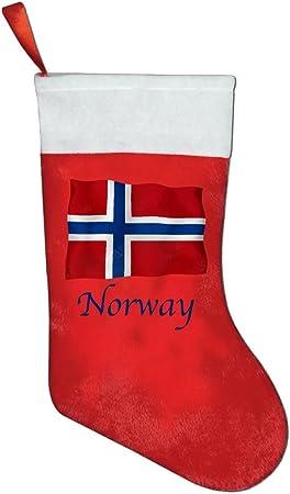 Bandera de Noruega, Noruega bandera calcetín de Navidad calcetines de Navidad rojo: Amazon.es: Hogar