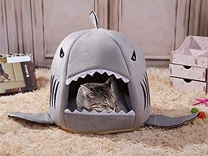 CoolGift Cama para Gatos Hai de tiburón y minicama para Perros