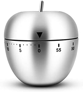 Egg/Apple Kitchen Timer Cute Manual, Stainless Steel Metal Mechanical Visual Countdown Cooking Timer With Loud Alarm for Kitchen Cooking Baking Sports Kids (apple timer)