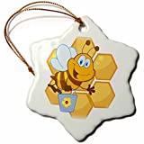 Ornaments to Paint _ Cute Happy Honey Bee and Honeycomb-Snowflake Ornament, Porcelain, 3-Inch