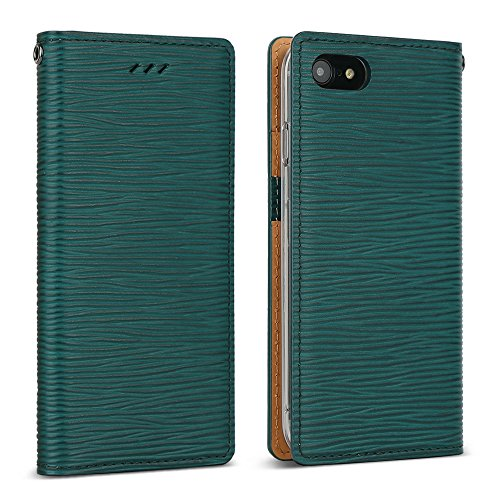 DesignSkin iPhone 8 Flip Folio Wallet Case: 100% Leather That is Genuine Cowhide w/Card Slot & Cash Pocket for Apple iPhone 8/7 - Epi Green
