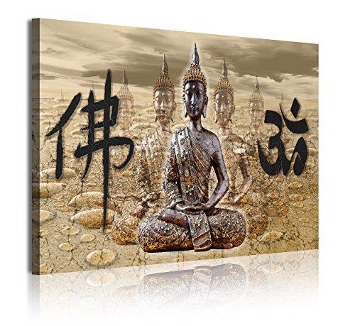 DekoArte 323 - Cuadros Modernos Impresion de Imagen Artistica Digitalizada | Lienzo Decorativo para Tu Salon o Dormitorio | Estilo Zen Feng Shui con Buda y Letras Chinas | 1 Pieza 120 x 80 cm